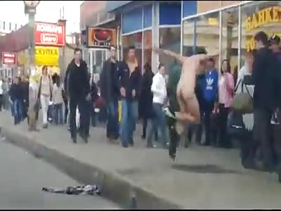 Russian drug addicted guy on walk