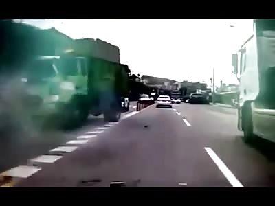 Wow, Garbage Truck Crash