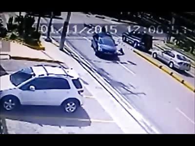 Rider Slides underneath Car Crushing his Head