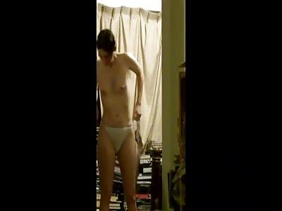 Pervert records sister naked.
