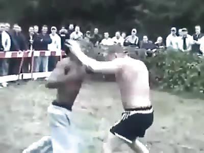 Bare knuckle British boxing white guy vs muslim