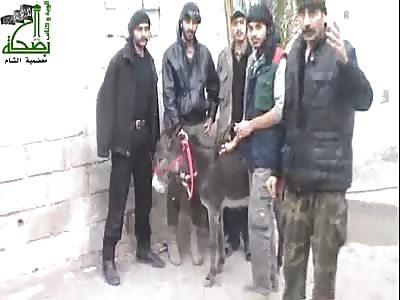 Mujahideen kill a donkey to eat meat.