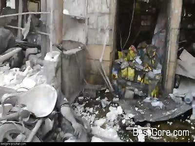 Aftermath of Marketplace Bombing in Atarib City, Aleppo, Syria