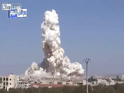 SAAF Barrel Bomb Airstrike on Jihadist Stronghold - With Aftermath