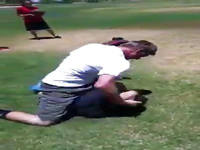 2 White boys fighting, (Black camera man)