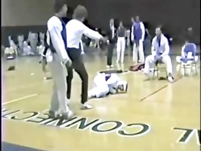 Joe Rogan spinning back kick KO in Tae Kwon Do fight