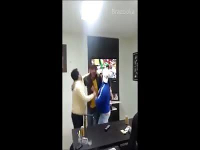 DUMBEST Brazilian Soccer Fan EVER breaks his TV by accident when celebrating