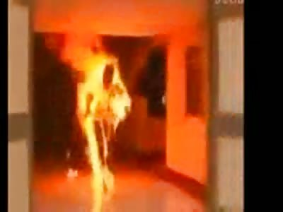 Man burns in flames