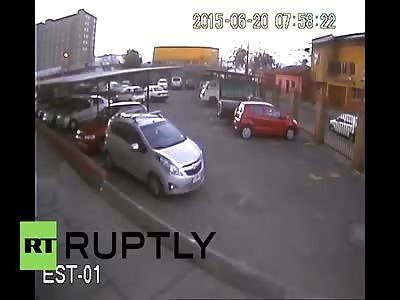 CHILE: CCTV CAPTURES NEAR-DEATH FALL AFTER MAN PLUMMETS 17 FLOORS