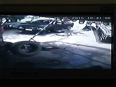 TIRE EXPLOSION: MAN HURT