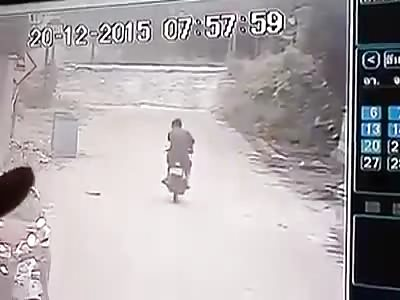 LUCKY BASTARD: MOTORCYCLIST NARROWLY ESCAPES DEATH