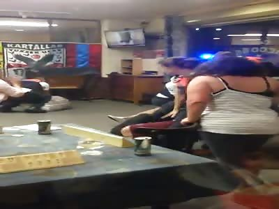 Belgian police beat up homocidal sand nigger in cafe