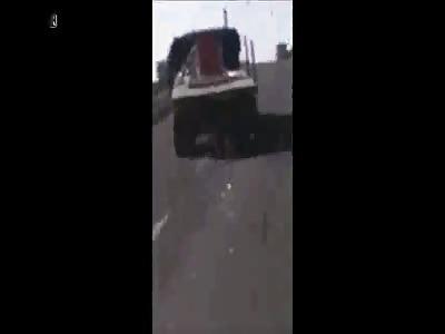 Truck Drives off Bridge Colliding with Train Causing Huge Fireball