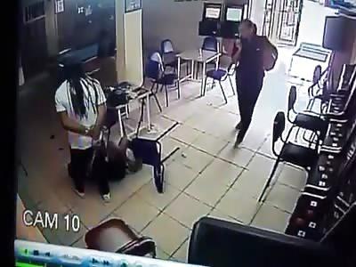 Man brutally attacks woman in Bar.