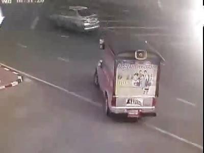 Motorbike Rear Ends a Pickup truck