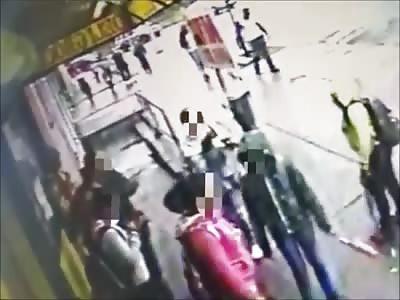 Car plows through group of kids at bus stop