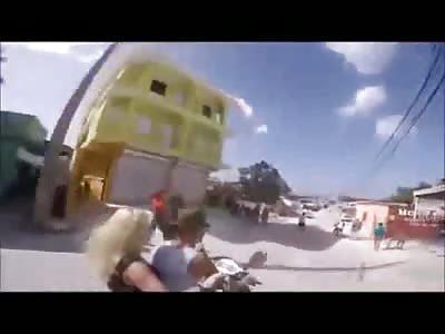 Tourists Selfie Stick Their Moto Accident.