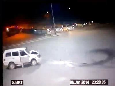 Accident .. Cab hitting an ambulance