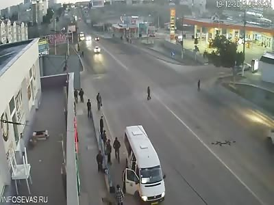 Car hits pedestrian in Ukraine!
