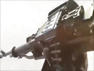 Iraqi Mi-17 Door Gunner Engages Enemy Truck
