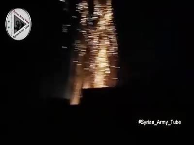 Idleb countryside : Raaaia ... one moment to target columns of mercenaries ,