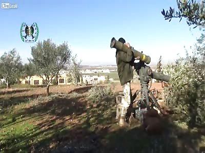 TOW action against Shia mercenaries armor, Southern Aleppo