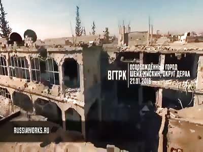 Russian Drone Filmed Syrian City Sheikh Maskin