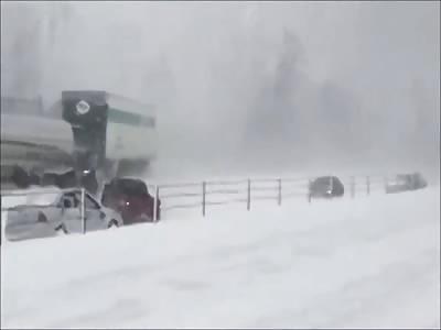 100 car truck pileup I-94 snow storm
