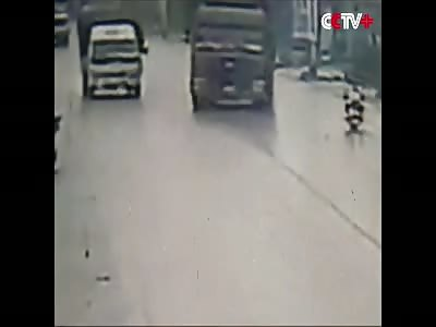 Drifting Truck Kills Scooter Rider In Brutal Fashion